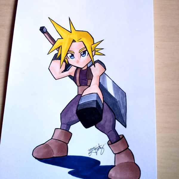 FFVII- Cloud Strife PS1 graphics